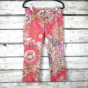 J Crew City Fit Stretch Colorful Floral Pants Sz 2
